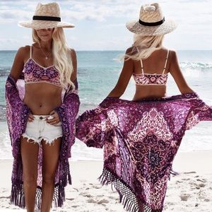 Other - Boho Purple & Pink Floral Mosaic Kimono Coverup